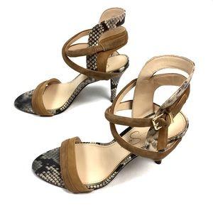 Jessica Simpson Leather Snakeskin Ankle Strap Heel